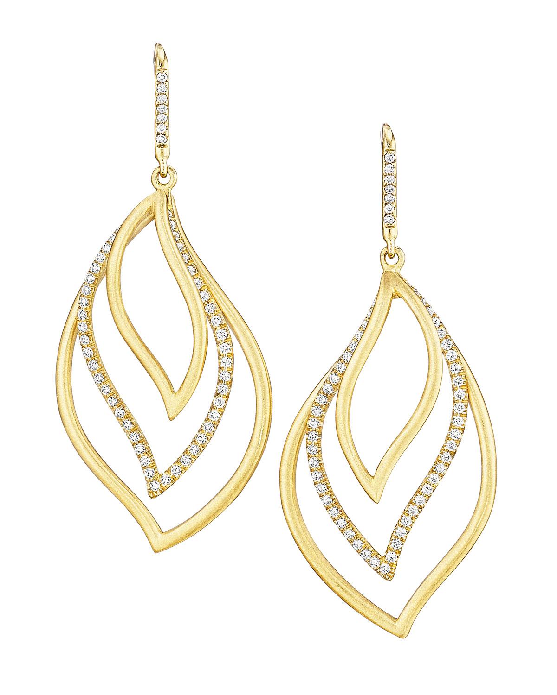 CARELLE Brooke Leaf 18K Gold & Diamond Trio Drop Earrings