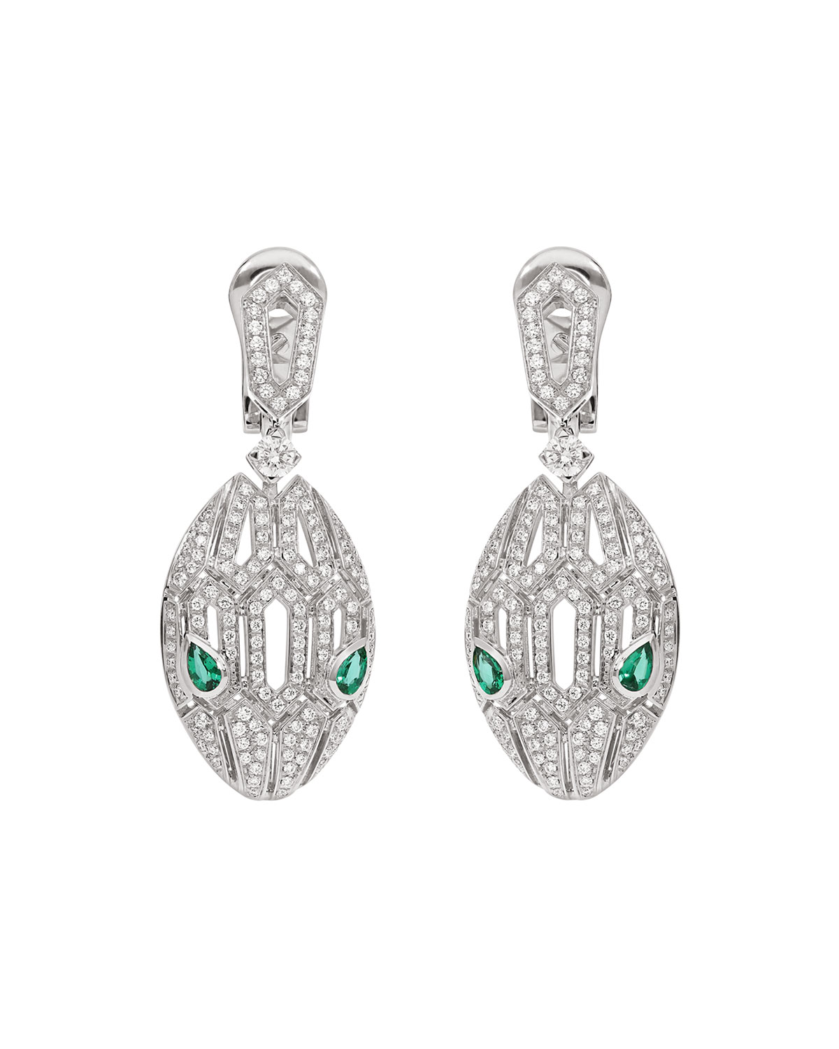 Serpenti Drop Earrings in 18k White Gold and Emeralds