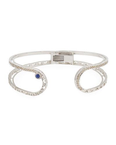 Open Champagne Diamond Cuff Bracelet with Blue Corundum