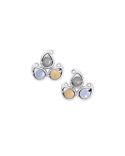 Paisley Moonstone Button Earrings in 18K White Gold