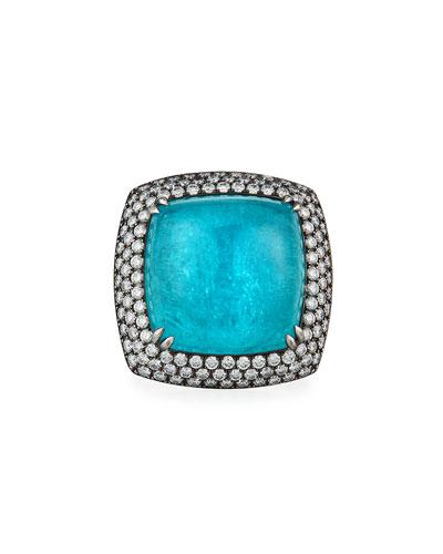 18k White Gold Paraiba Diamond-Trim Ring, Size 7