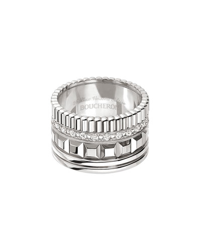 Quatre 18K White Gold Ring with Diamonds, Size 54