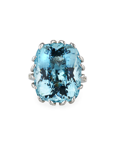 18k White Gold Aqua Cushion Diamond Pave Ring, Size 6