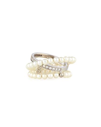 Pearl & Diamond Wrap Ring in 18K White Gold