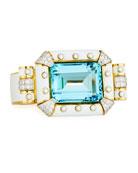 Aquamarine & White Enamel Bracelet with Diamonds in 18K Gold & Platinum