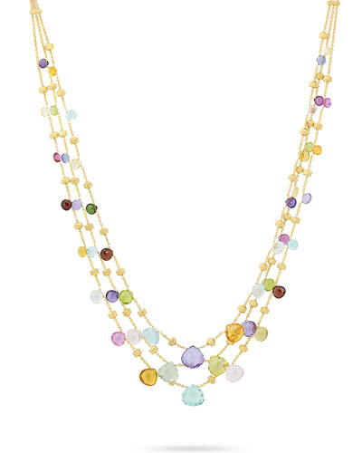 Paradise Three-Strand Mixed-Gem Necklace, 16.5