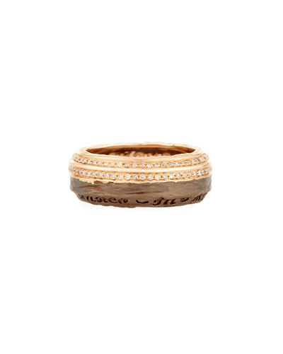 The Other Half 18K Rose & Chocolate Gold Band Ring with Diamonds ...