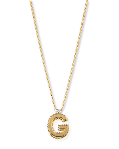 Princess 18K Yellow Gold Diamond Initial Necklace, G