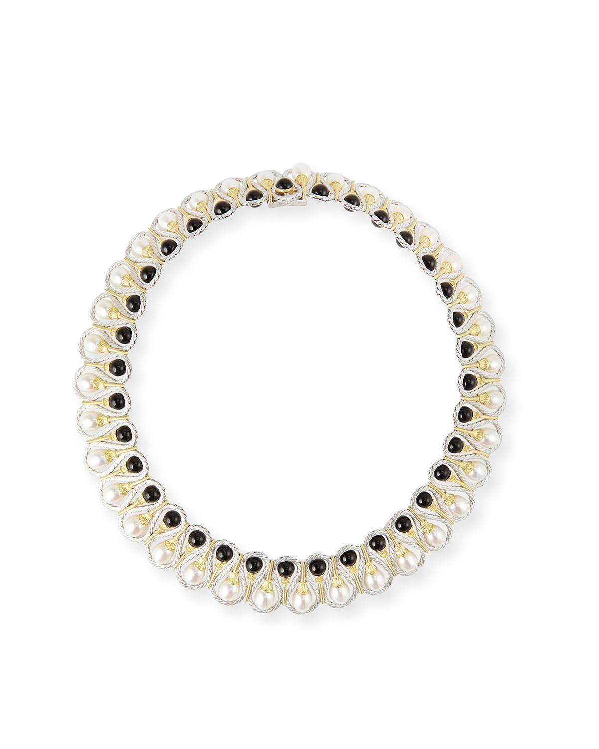 BUCCELLATI 18K GOLD COLLAR NECKLACE WITH ONYX AND PEARLS
