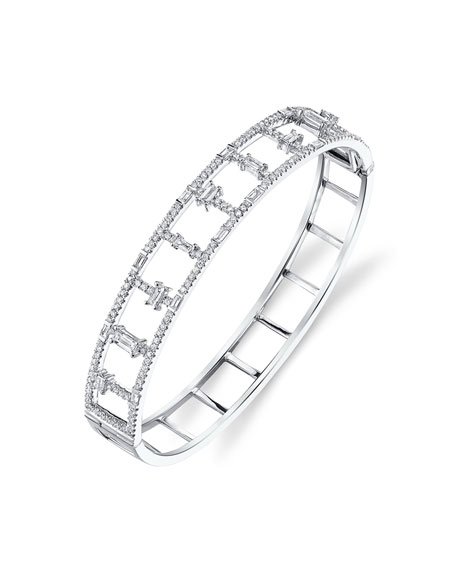 Borgioni 18k White Gold Round & Baguette Diamond Bangle