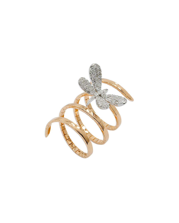 STAURINO FRATELLI 18K Rose Gold Magic Snake Spiral Flex Ring With Diamond Dragonfly