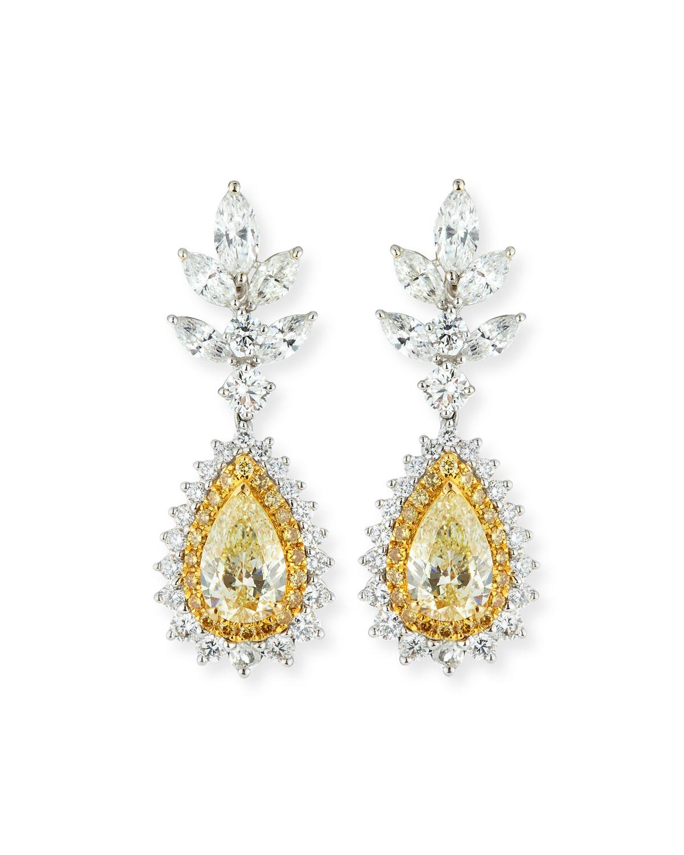 ALEXANDER LAUT 18K White Gold Fancy Yellow & White Diamond Earrings