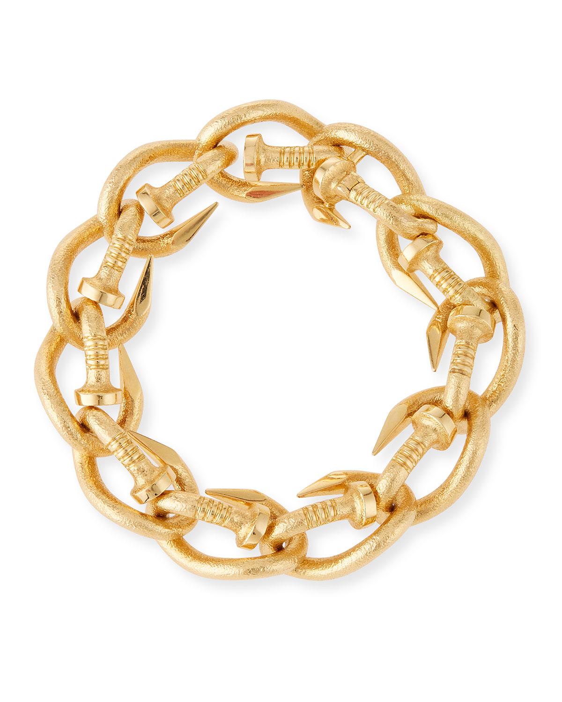 18K GOLD HAMMERED NAIL LINK BANGLE BRACELET