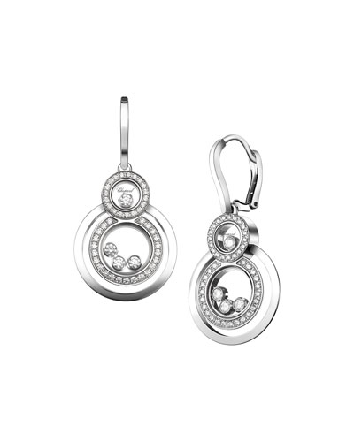 Stacked Circle Drop Earrings with Diamonds in 18K White Gold