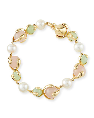 Chalcedony, Rose Quartz & Pearl Bracelet