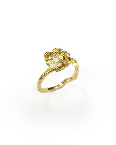 Wonderland 18k Diamond Rose Ring, Size 6