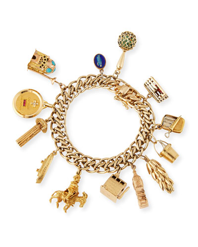 14K Gold Chain Bracelet with Assorted Charms