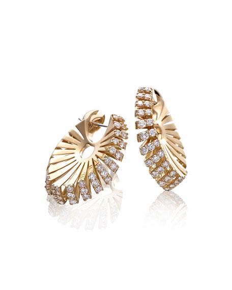 Miseno Ventaglio 18k Yellow Gold Diamond Hoop Earrings