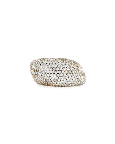 Pirouette 18k White Gold White Diamonds Pave Jet Ring