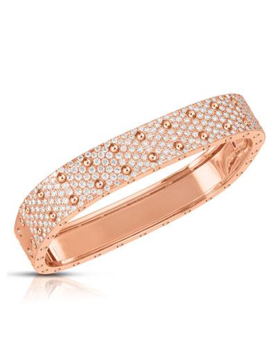 Polished & Pave 18k Rose Gold Diamond 2-Row Bangle
