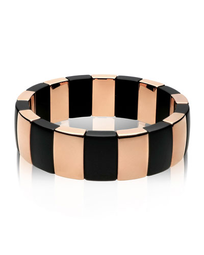 18k Rose Gold & Black Ceramic Stretch Bracelet