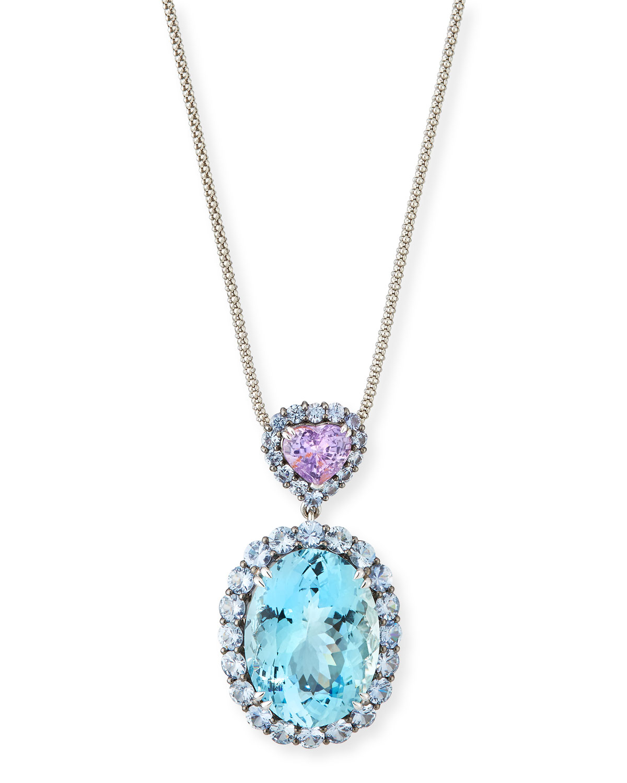 ALEXANDER LAUT Platinum Aquamarine & Sapphire Heart Pendant Necklace