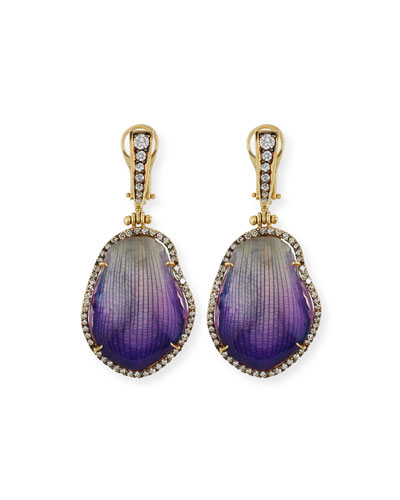 SILVIA FURMANOVICH 18K DIAMOND & RESIN-COATED ORCHID PETAL DROP EARRINGS, PURPLE