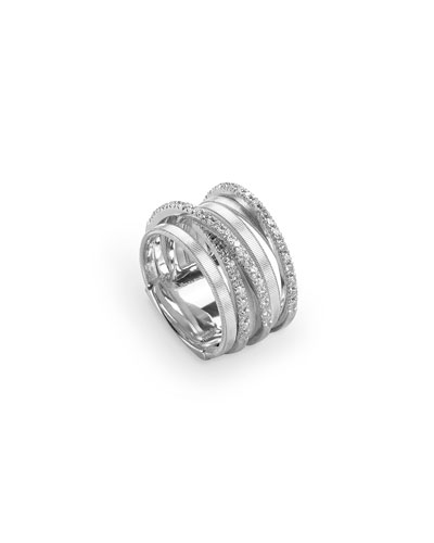 Goa Stacked Seven-Row Crossover Ring with Diamonds