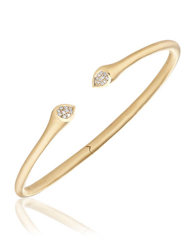 Swirl 18K Gold Bracelet with Diamond Tips