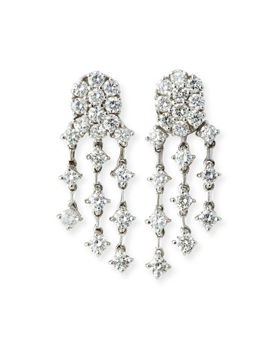 Three-Strand Diamond Chandelier Earrings in 18K White Gold