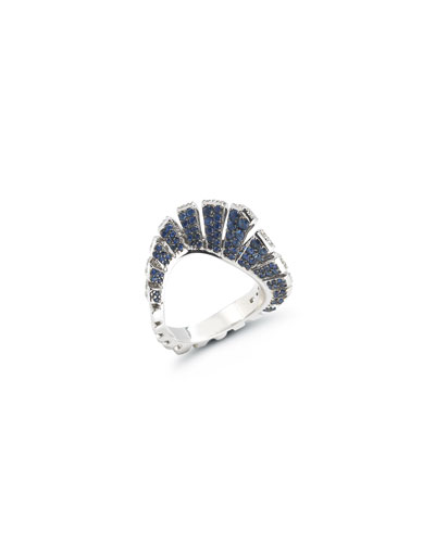 18k White Gold Blue Sapphire/White Diamond Fan Ring