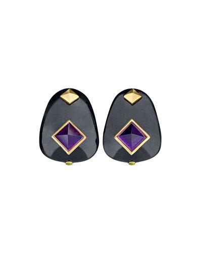 Weekend Black Jade Earrings with Amethyst