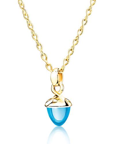 Mikado Bouquet Swiss Blue Topaz Pendant Enhancer in Yellow Gold