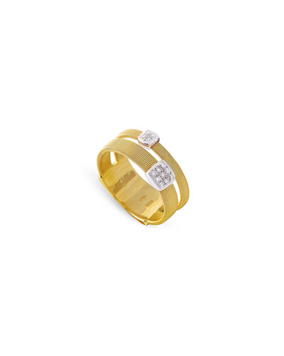 Masai 18K Gold Stacked Ring with Diamond Stations, Size 7