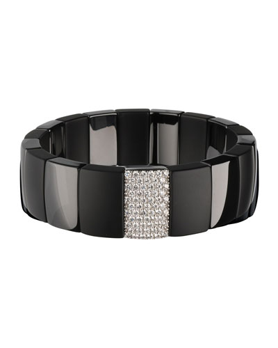 Matte & Shiny Black Ceramic Stretch Bracelet w/ Diamonds