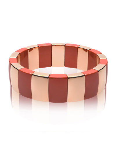 AURA 18k Rose Gold & Coral Ceramic Stretch Bracelet