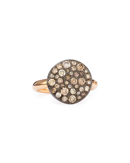Pomellato Sabbia Rose Gold & Brown Diamond Ring, Size 52