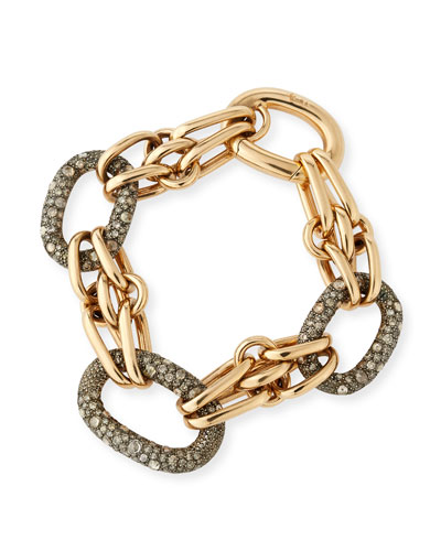 Tango 18K Rose Gold Link Bracelet with Brown Diamonds