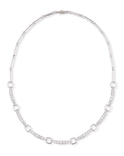 18K White Gold & Diamond Link Necklace