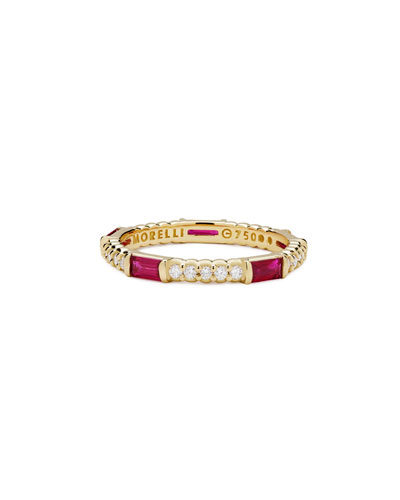 Ruby & Diamond Pinpoint Baguette Ring in 18K Gold