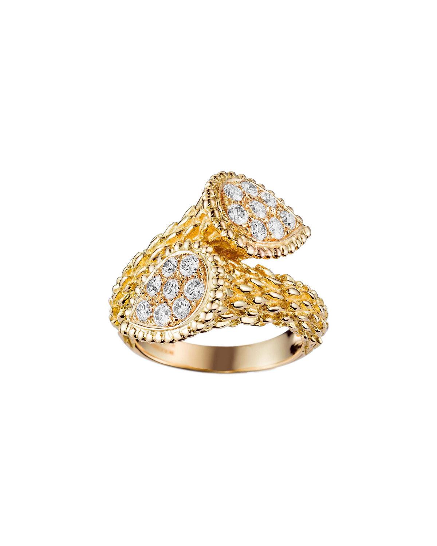 Serpent Boheme 18k Rose Gold Diamond Bypass Ring