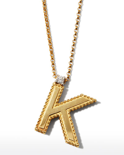 Princess 18K Yellow Gold Diamond Initial Necklace, K