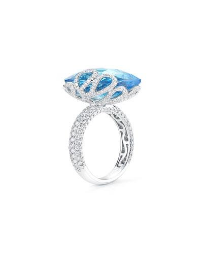 18k White Gold Sea Leaf Topaz/Diamond Ring, Size 5
