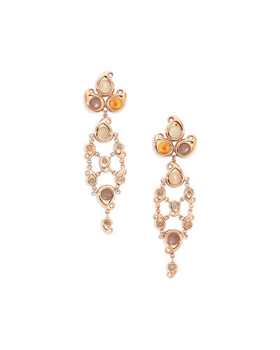 Paisley Moonstone & Garnet Chandelier Cabochon Earrings in 18K Rose Gold