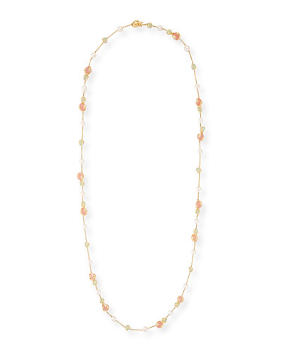 Chalcedony, Rose Quartz & Pearl Necklace, 42