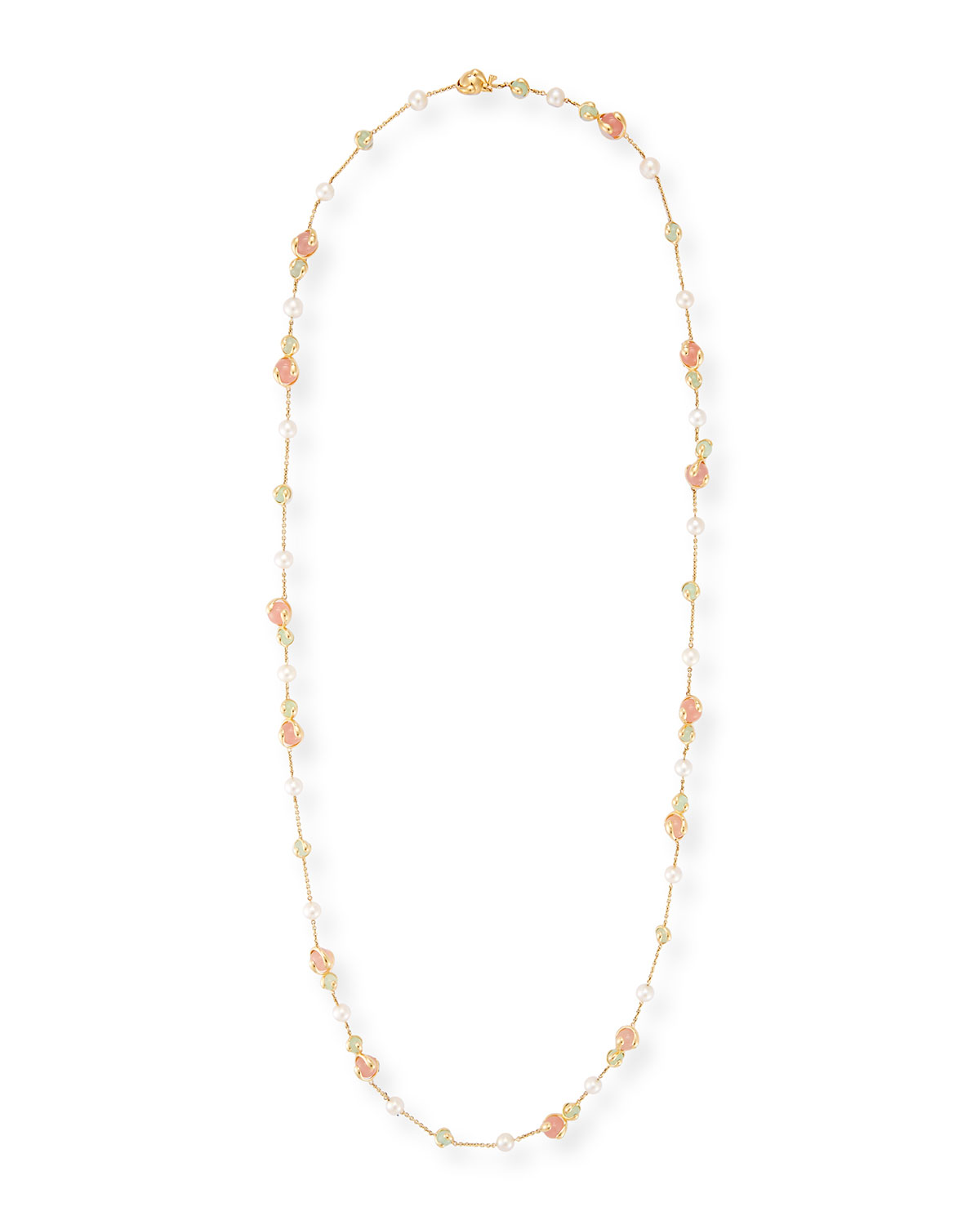 Chalcedony, Rose Quartz & Pearl Necklace, 42