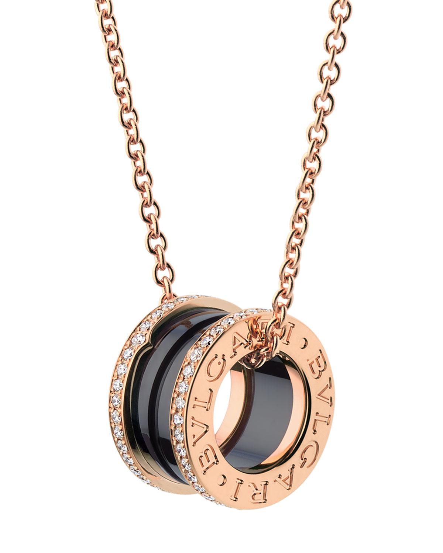 B.Zero1 18k Rose Gold Black Ceramic Charm Necklace with Diamonds