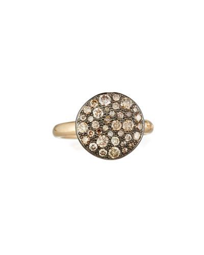 Sabbia Rose Gold & Brown Diamond Ring, Size 49