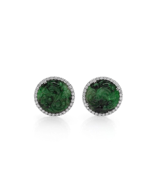 18k Green Jade Diamond Halo Stud Earrings