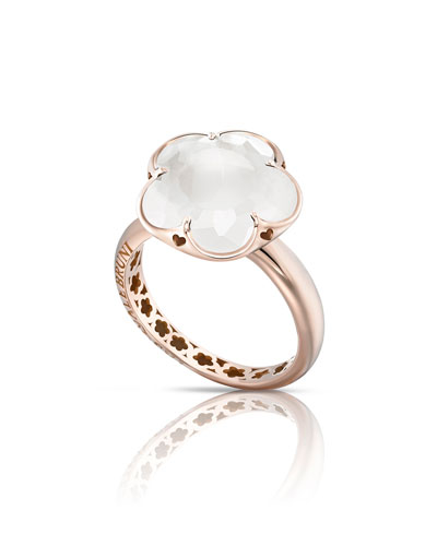 Bon Ton Milky Quartz Flower Ring in 18K Rose Gold